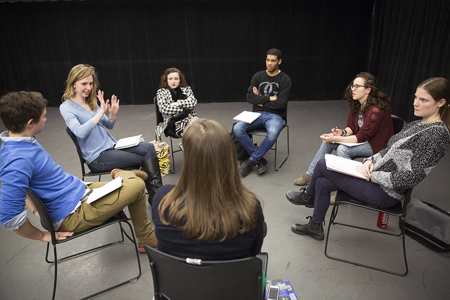 Teaching fellow Julia Bumke, second from left, speaks to directing students at Harvard.  (Jon Chase/Harvard Staff Photographer).